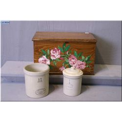 A wooden lidded box and a 1/2 gallon Medalta crock and lidded 1/4 gallon Medalta crock