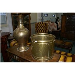 Two pieces of brass including round planter and an urn style floor vase