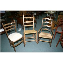 Three vintage chairs including ladder back rocker with woven seat, ladder back rocker with woven  se