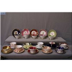 A large selection of collectible teacups and  saucers including Royal Stafford, Royal Albert,  Parag