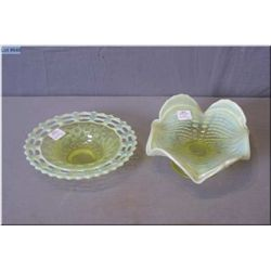 Two vintage pieces of Uranium glass including hobnail opalescent comport and a pierced lace  edged d