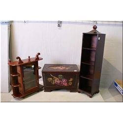 Three modern deco items including wall mount  display, CD rack and a painted decorative box
