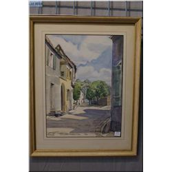 "A framed original watercolour painting depicting a street scene signed by artist 17"" X 13"""