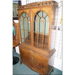 A Deco style china cabinet with double glazed doors, double doors