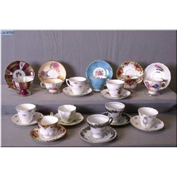 A selection of collectible teacups and saucers including Colclough, Vale, Paragon, Royal Albert  etc