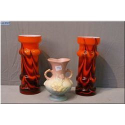 A pair vintage Italian made Enesco vases and a Hull Art Pottery vase