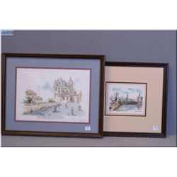 "A framed coloured lithograph titled ""Point Alexandres III"" signed by artist Huchet and a  framed lit"