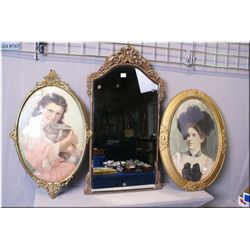 Two oval framed portraits and a bevelled wall mirror in ornate frame