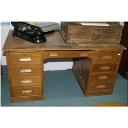 Vintage oak double pedestal office desk