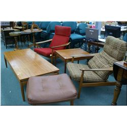 A selection of mid century modern teak furniture  including two arm chairs, one ottoman, one coffee