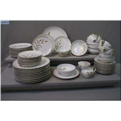 "A selection of china table ware ""Golden Leaf"" made  by ACI Japan including settings for ten with  ex"