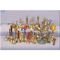 A large selection of brass and collectible bells