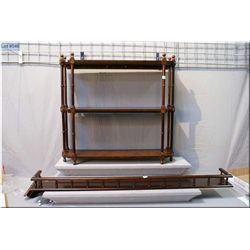 A three tier wall mount shelf and a wooden wall shelf with galley