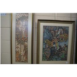 Two framed prints of colourful tribal scenes