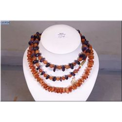 """A natural Cornelian gemstone necklace 16"""" in  length and a natural amethyst and Cornelain beaded  ne"""