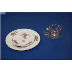New in box set of rose motif Johnson Bros. Stoke-on-Trent dinnerware and a new box of Sears  rose mo
