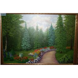 A framed oil on canvas painting of a path through the forest signed S.Z. Moling (?)