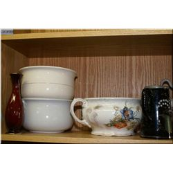 Selection of jugs, two vases and three commode pots