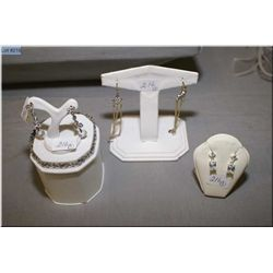 A selection of sterling silver costume jewellery including sterling bracelet and three pairs of  ste