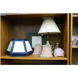 A selection of vintage glass shades and lamps including figural lamps,  lithopane shade and plug in