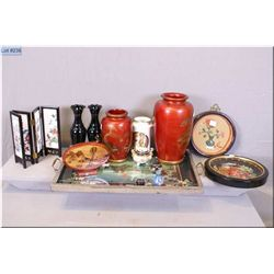 A selection of Oriental collectibles pair of matched black glass vases,  large red porcelain vases,