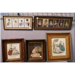 Five framed prints including gibson girls, vintage fashion plates,  and a small portrait