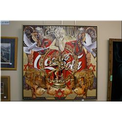 An unusual original oil on canvas painting depicting Coca-cola as a religion signed by artist Batsch