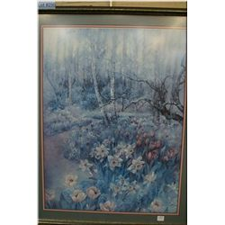 A framed hand signed Limited Edition print of a  forest scene by artist Lena Liu