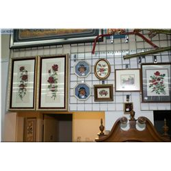 A selection of framed needleworks including petitpoint florals, children etc.