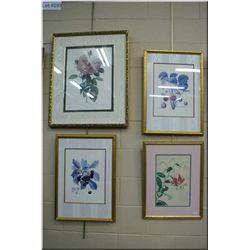 Four assorted framed prints, all floral motif