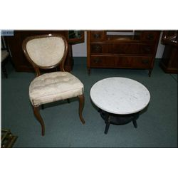 A two tier marble topped occasional table and a vintage side chair and a Queen Anne style needle  up