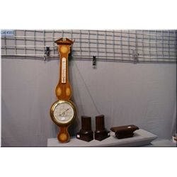 A Short and Mason English made wall mount  barometer plus a set of wooden bookends and small  wall s