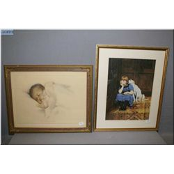 "Two framed prints including Besse Gutman's ""A little bit of Heaven"" and a girl with her puppy"