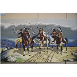 "An unframed acrylic on canvas of mounted North  American Indians, 33"" X 68"" signed by Sandford Fishe"
