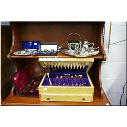 A canteen containing gold plated Northcraft flatware and a selection of silver plate including  mini