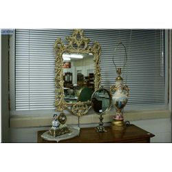A selection of collectible including lovestory style table lamp, figural clock, ornate dresser  mirr