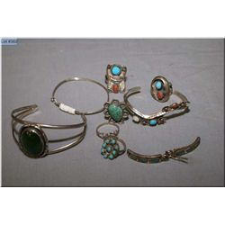 A selection of lady's sterling silver and gemstone jewellery including turquoise, jade and coral  et