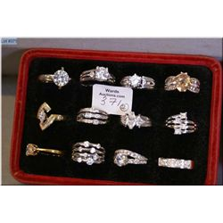 A selection of Jeweller's brass sample rings, 19 count