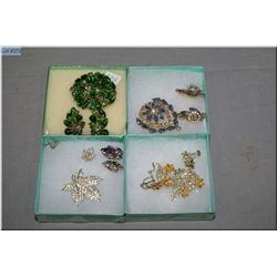 A  selection of vintage costume jewellery set with rhinestones including aurora borealis blue and ca