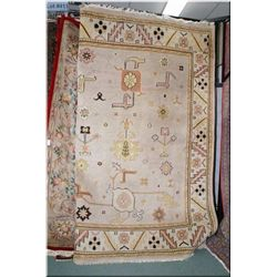 "Large wool area rug with neutral earth tones and  geometric south-western design. 92"" x 120"""
