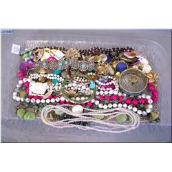 A selection of vintage and costume jewellery  including cloisonné bracelets, gemstone beaded  neckla