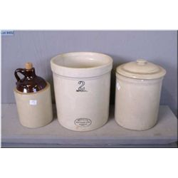 A collection of stoneware including jug, lidded one gallon crock and a Medalta two gallon crock