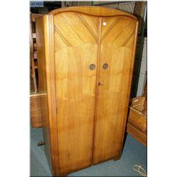 Small walnut two door wardrobe