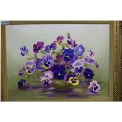 "A framed oil on canvas painting of pansies in a bowl 18"" X 24"" signed by artist Rose Leonard"