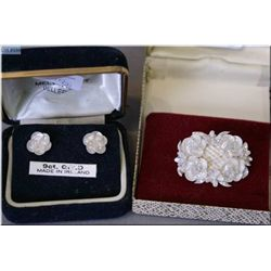 A boxed pair Belleek porcelain and 9ct yellow gold earrings and a Belleek style pin