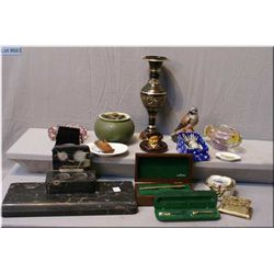 A vintage marble desk set, a selection of vintage collectibles including ashtrays, boxed pens,  tren