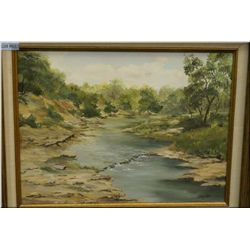 "A framed oil on canvas of a creek through the forest 12"" X 16"" signed by artist J.Drown"