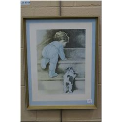 "Two framed prints including ""In disgrace"" by Besse Gutmann etc."
