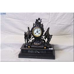 Marble Figural Antique Mantel Clock [ maker unkown] with Marley Horses & Handlers, w/heavy ornate em