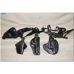 Tray Lot : Five Leather Holsters [ Safari 29 M & P - Uncle Mike's Shld - Legster - etc